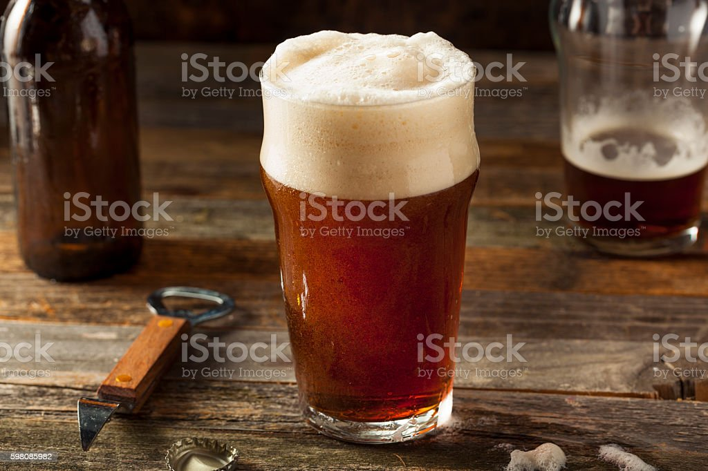 Refreshing Brown Ale Beer stock photo