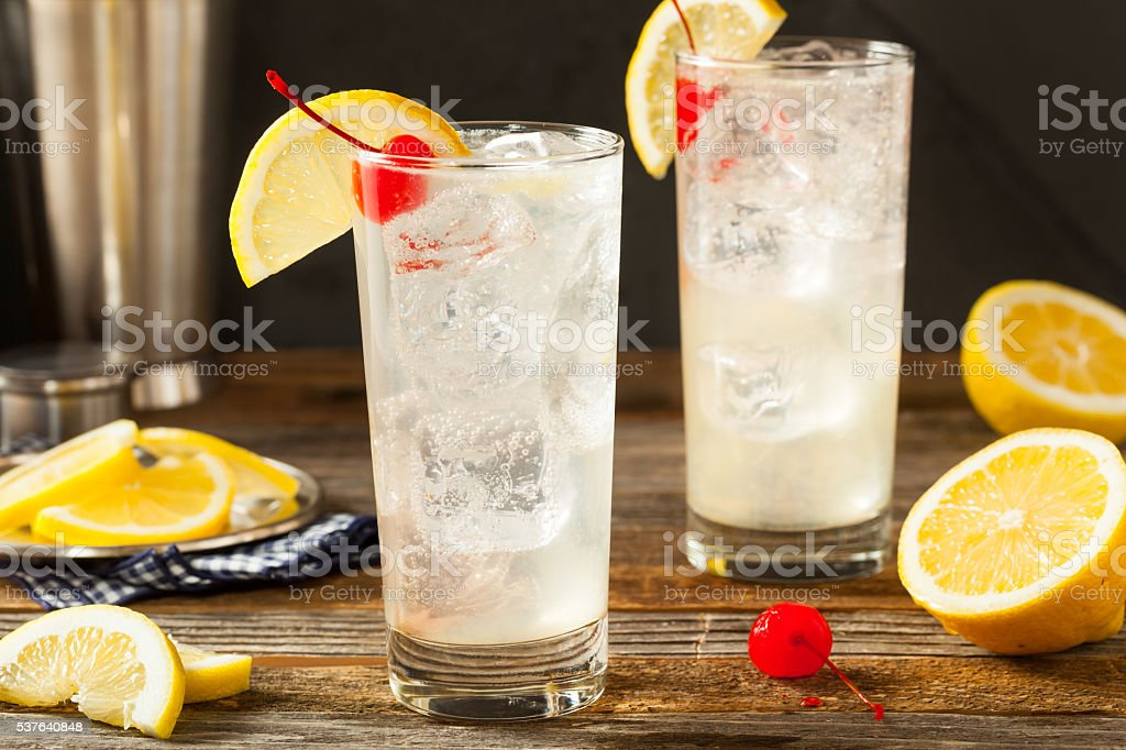 Refreshing Classic Tom Collins Cocktail stock photo