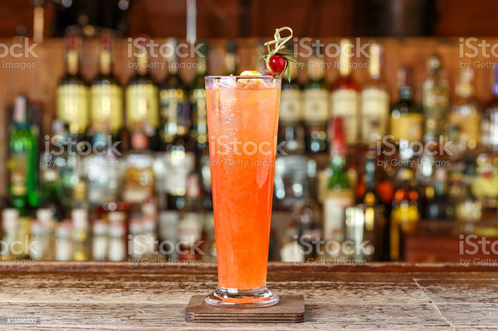 refreshing cocktail with ice stock photo