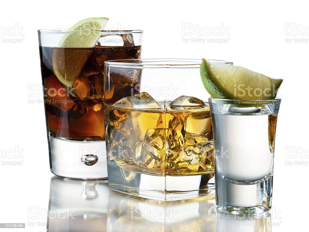 Refreshing cocktails for three thirsty folks  stock photo