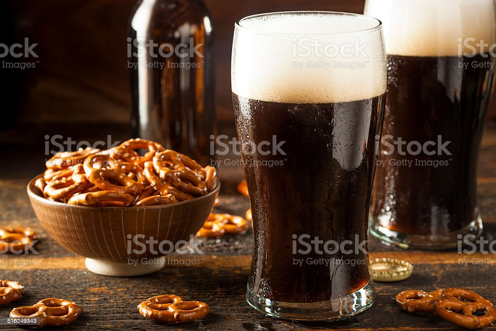 Refreshing Dark Stout Beer stock photo