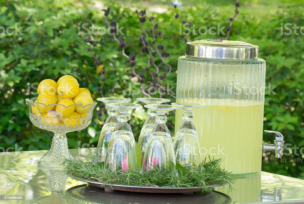 Refreshing fresh-squeezed lemonade for garden party stock photo