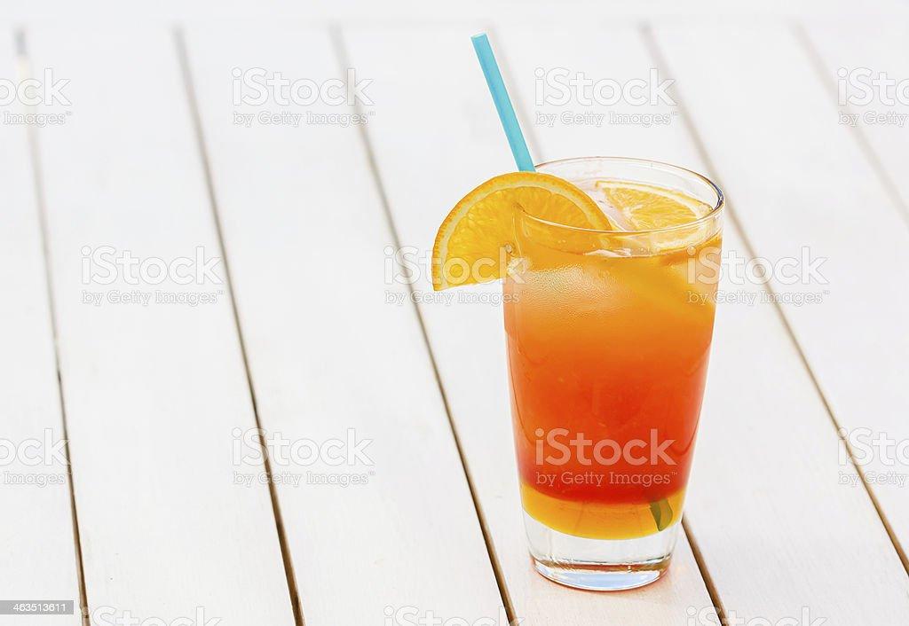 Refreshing glass of natural orange juice stock photo