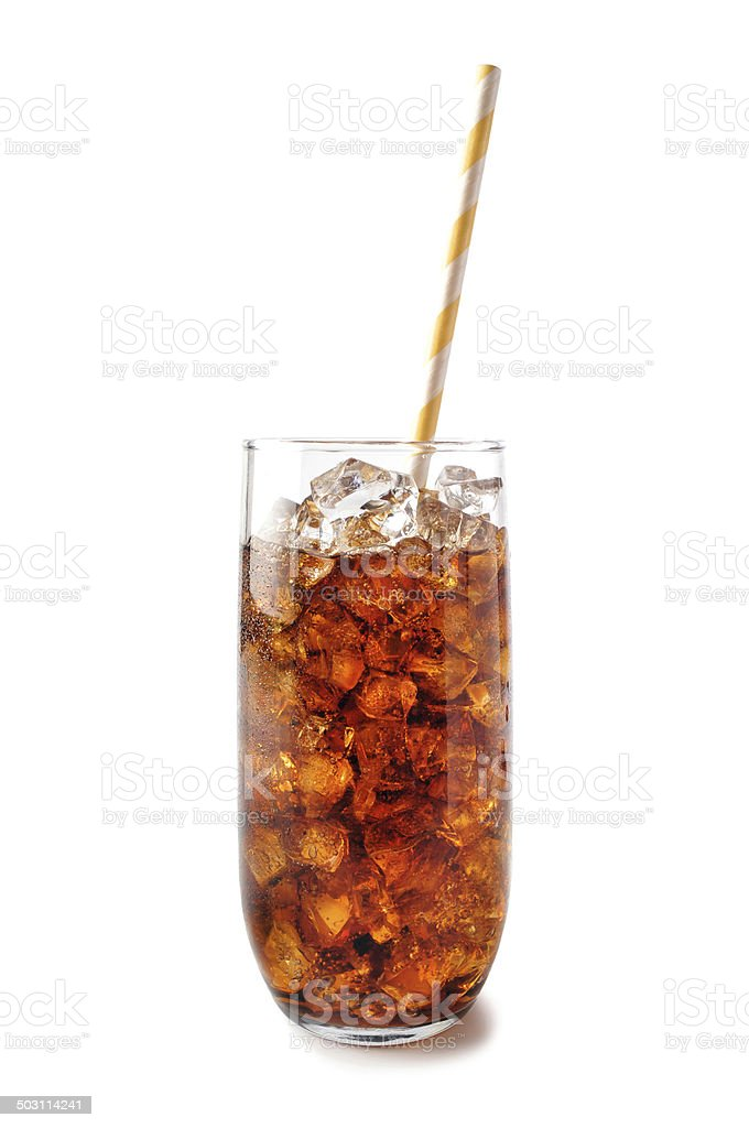 Refreshing Glass of Soda with Ice and a Straw stock photo