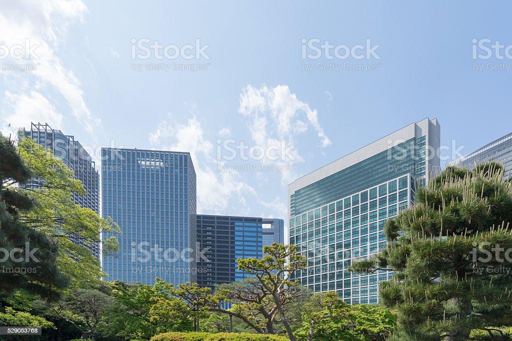Vert rafraîchissantes quartier d'affaires photo libre de droits
