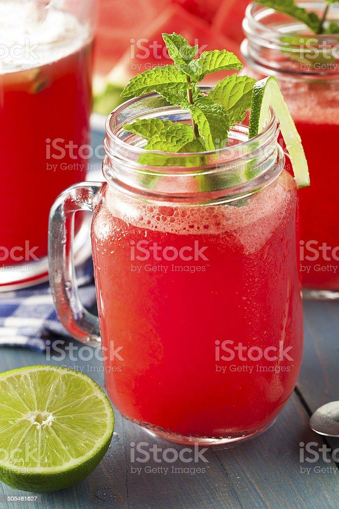 Refreshing Homemade Watermelon Agua Fresca stock photo