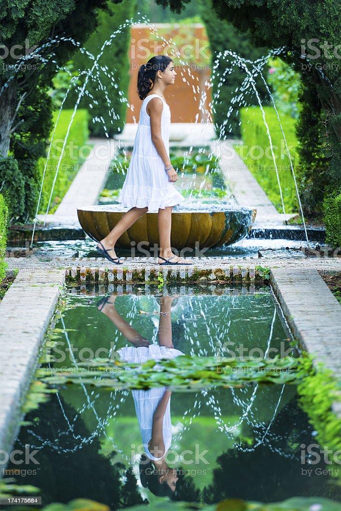 Refreshing in the Alhambra Generalife gardens, Spain stock photo