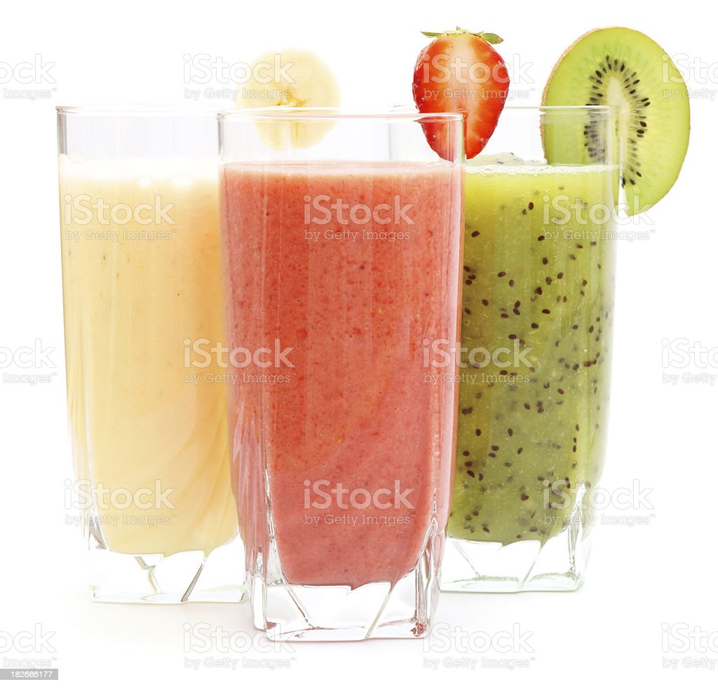 Refreshing juices from kiwi, banana and strawberry stock photo