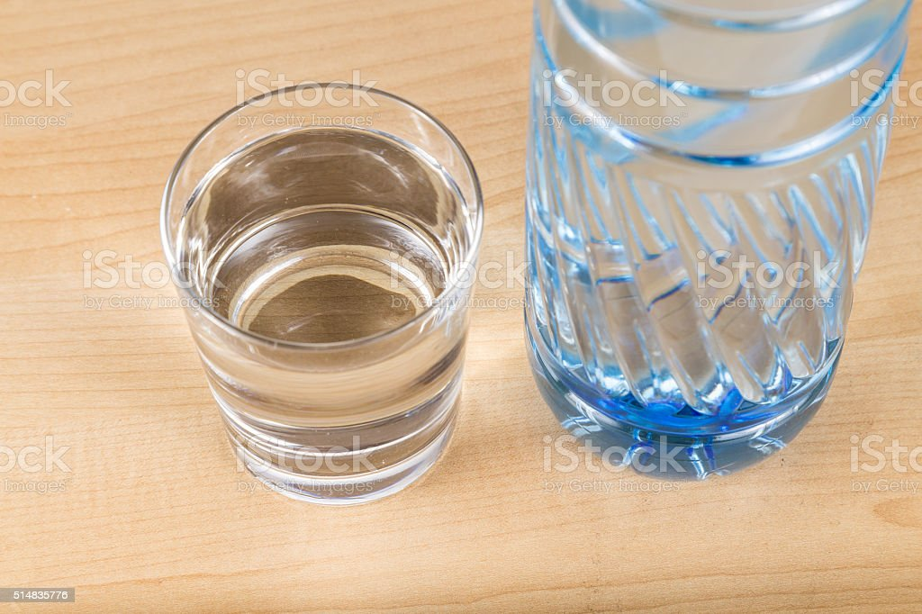 Refreshing natural mineral water in plastic bottle with transpar stock photo