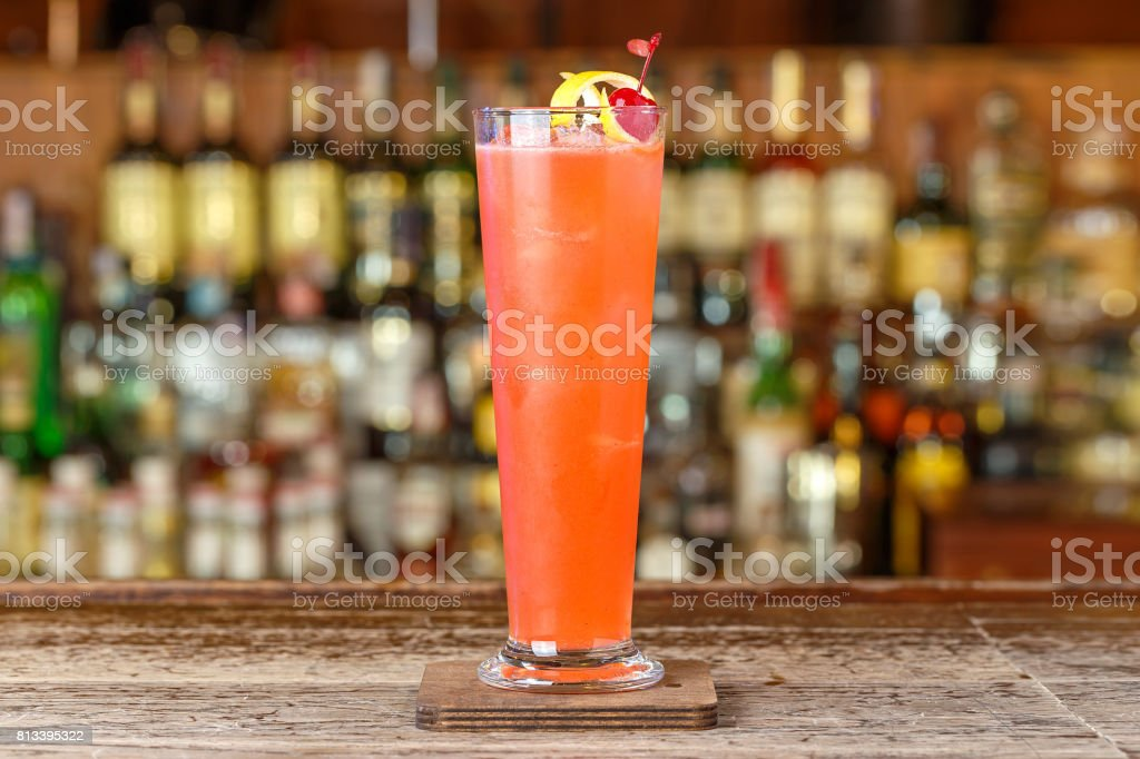 refreshing strawberry cocktail stock photo