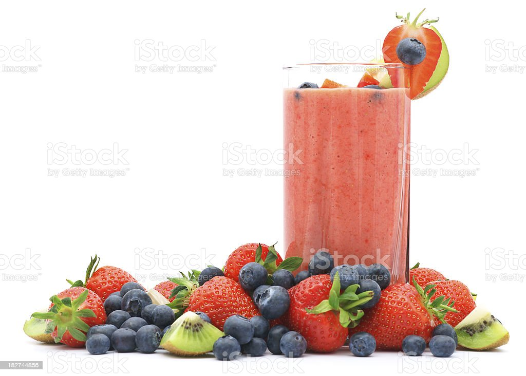 Refreshing strawberry smoothie with fresh fruits royalty-free stock photo