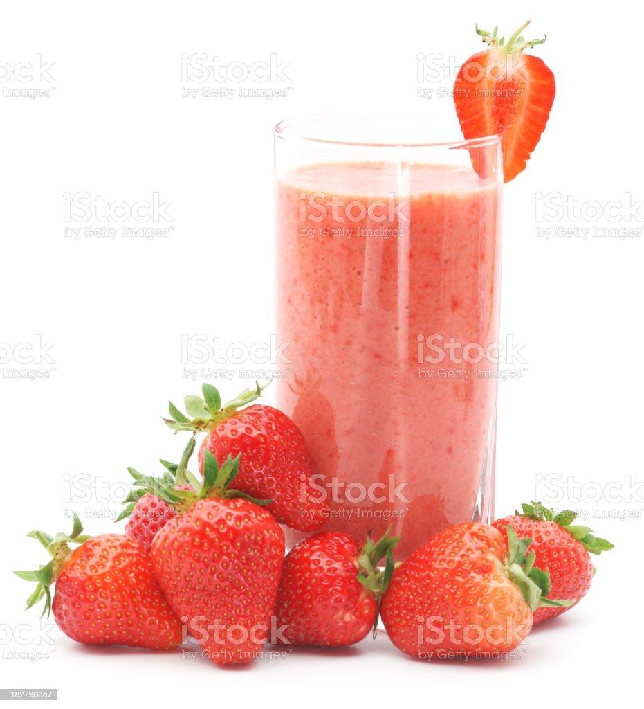 Refreshing strawberry smoothie with fresh strawberries royalty-free stock photo