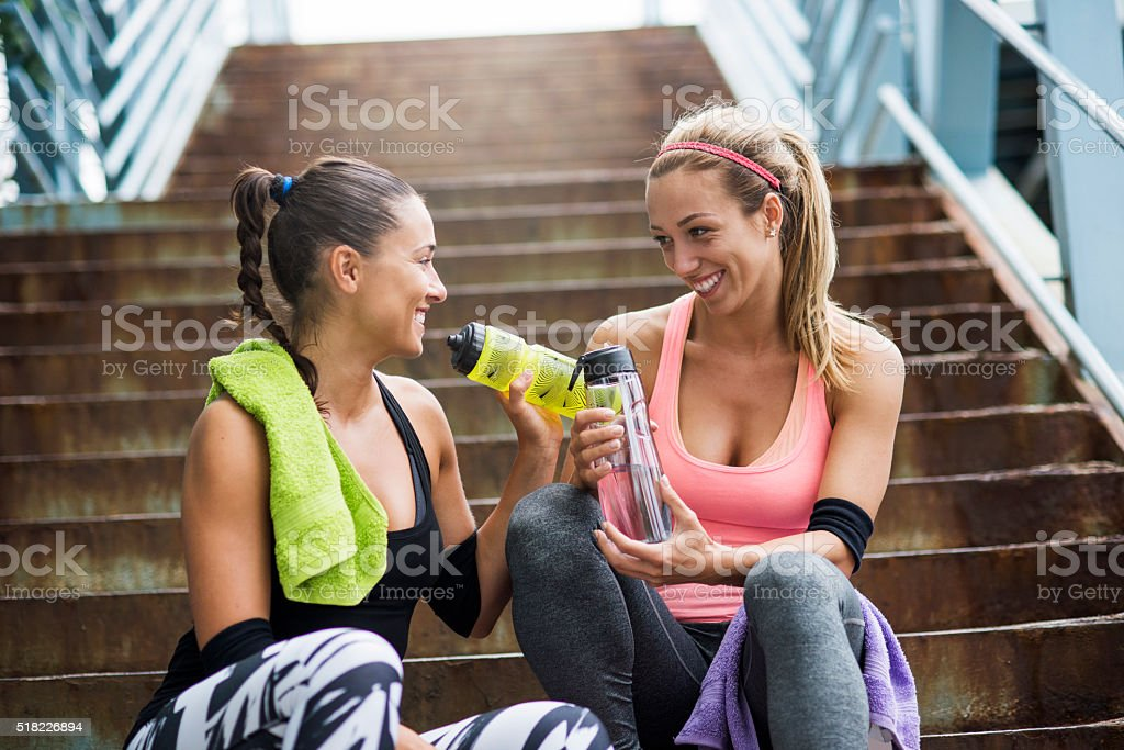 Refreshment after training stock photo