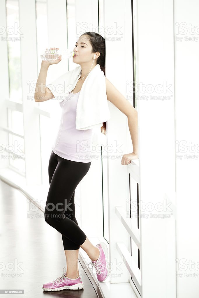 Refreshment at the Gym stock photo