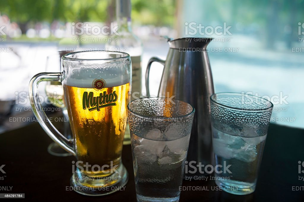 Refreshments at Greek sidewalk restaurant stock photo