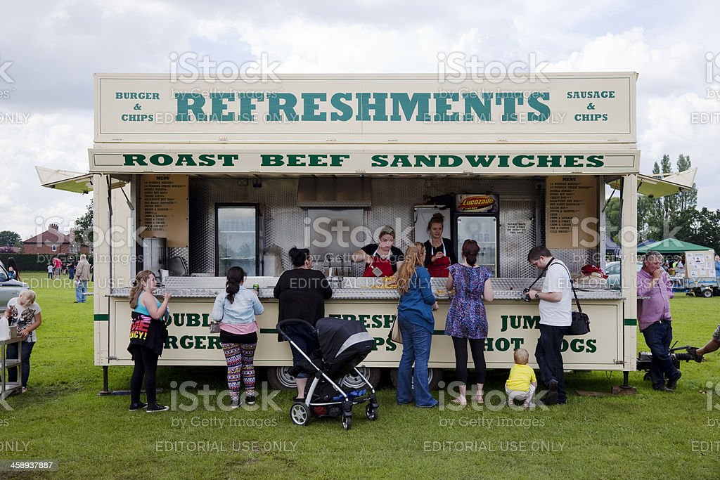 Refreshments, hot dog stand, fast food, burgers, fries stock photo