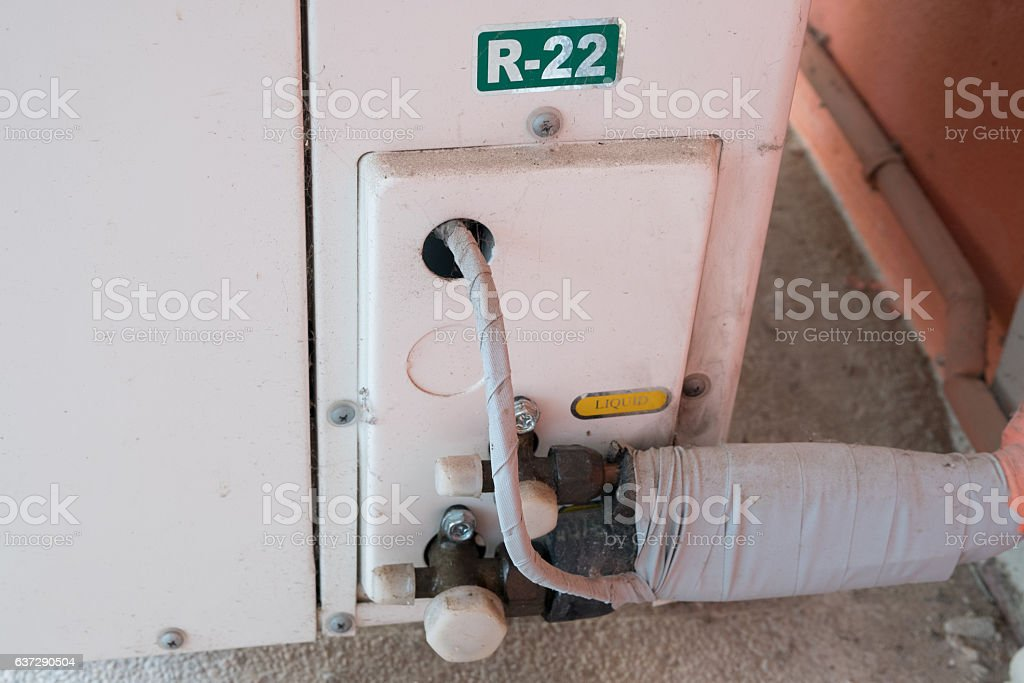 Refrigerant access ports stock photo