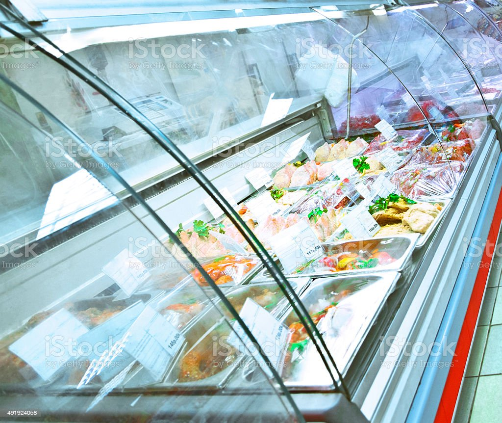refrigerated case stock photo
