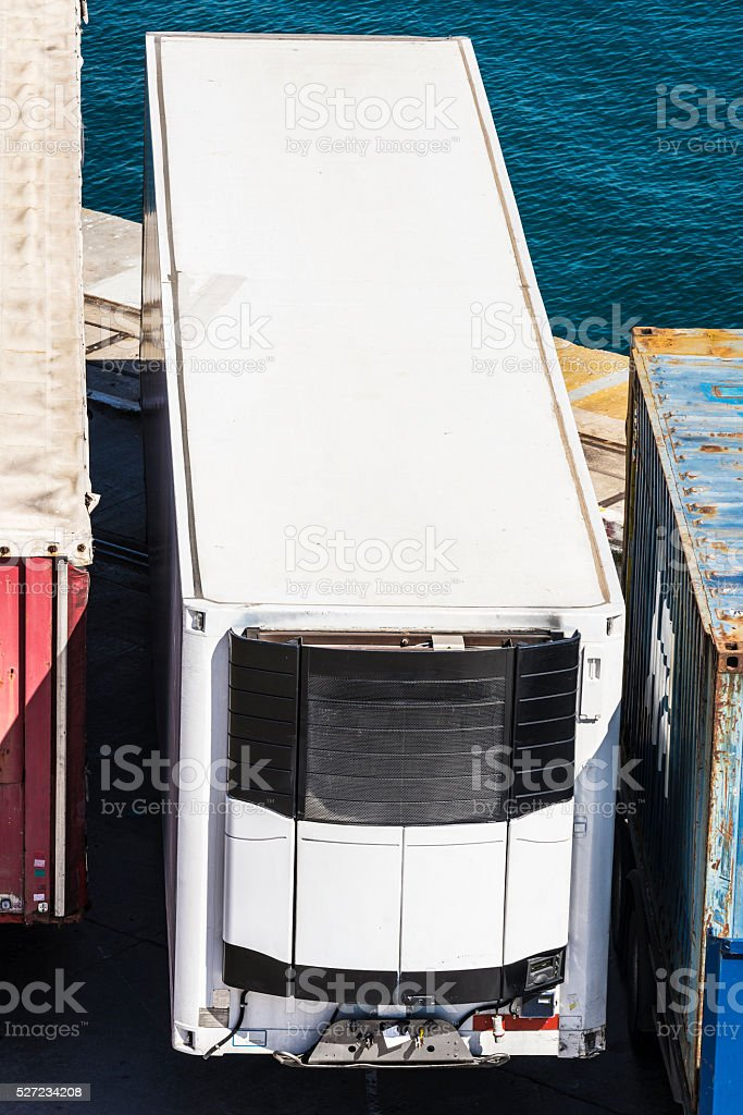 Refrigerated container stock photo