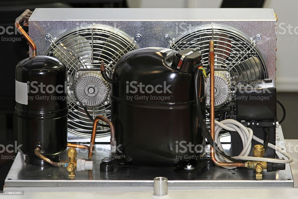 Refrigerator compressor unit stock photo