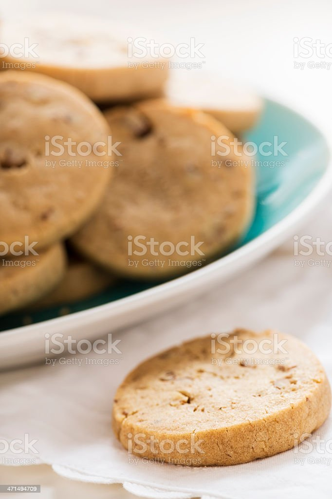 Refrigerator Cookies with Pecans on an Angle royalty-free stock photo