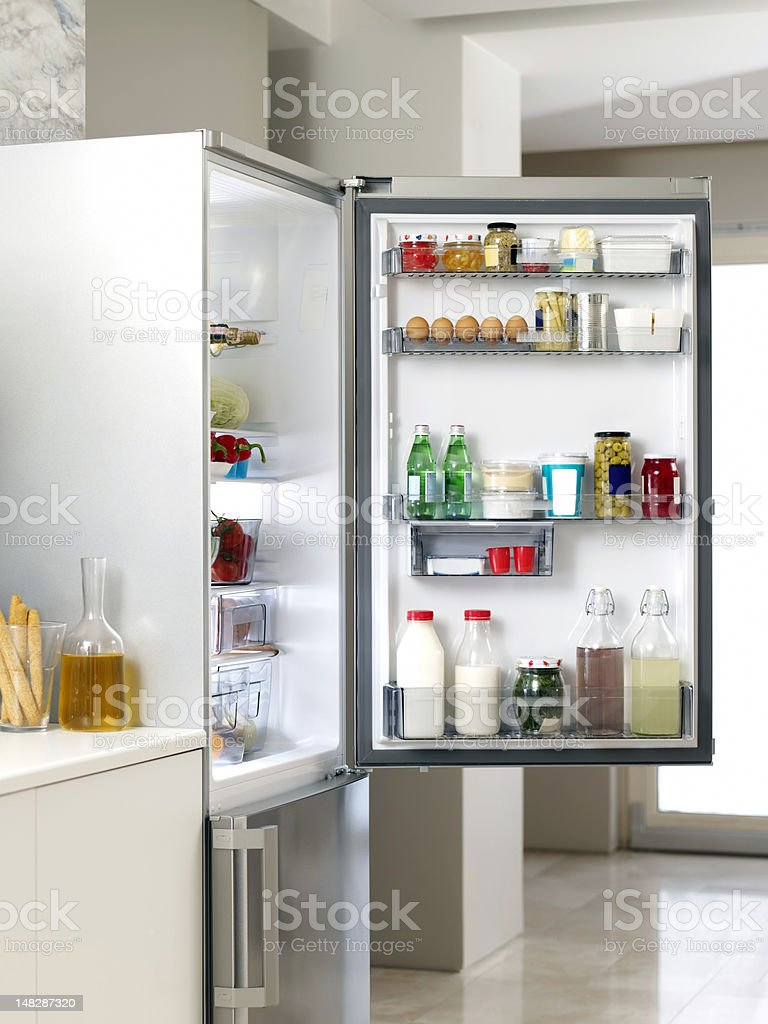Refrigerator in the Kitchen stock photo