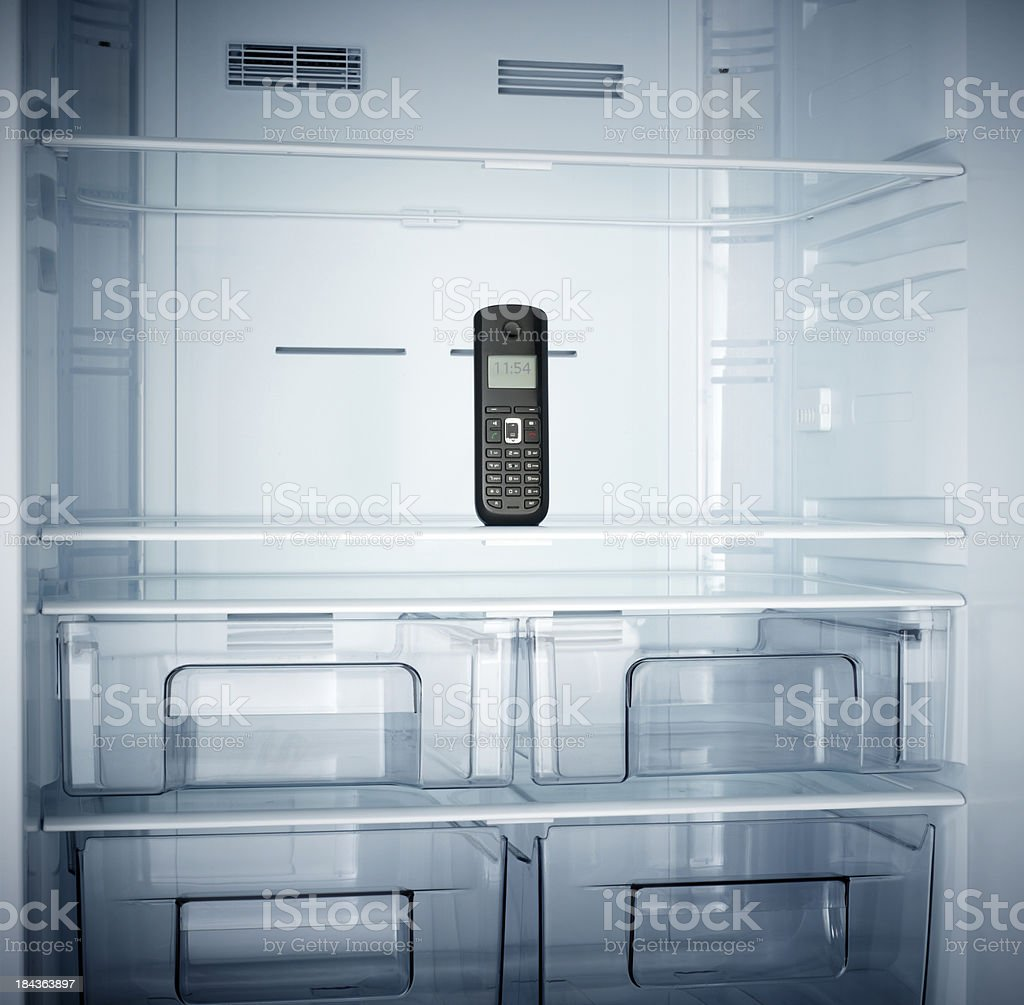 Refrigerator in the telephone stock photo