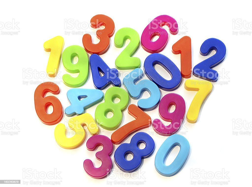 Refrigerator magnet style numbers on white background royalty-free stock photo