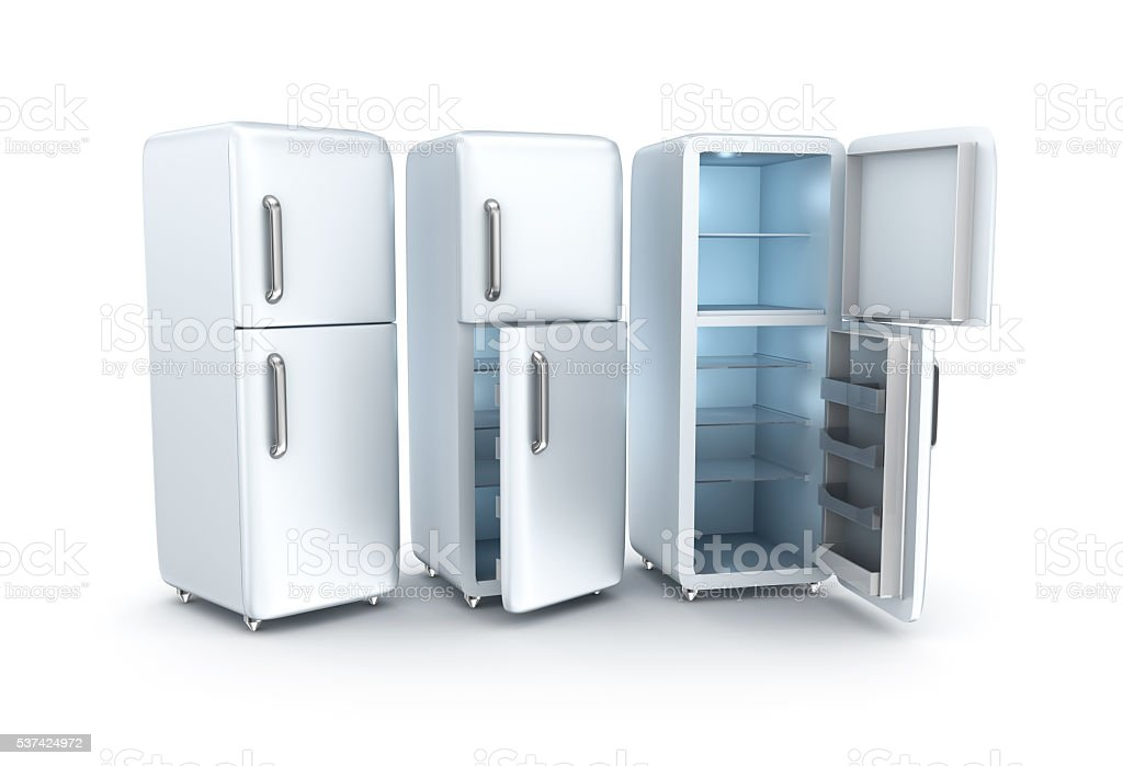 Refrigerator on white background. 3D render stock photo