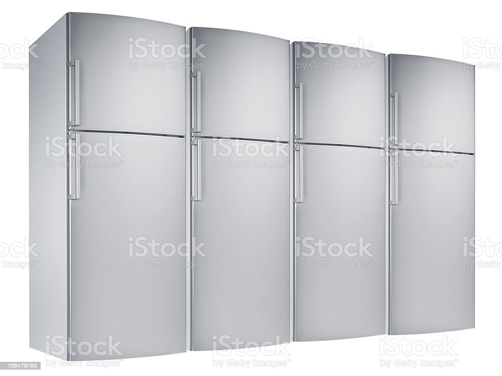 Refrigerator (isolated with clipping path over white background) stock photo