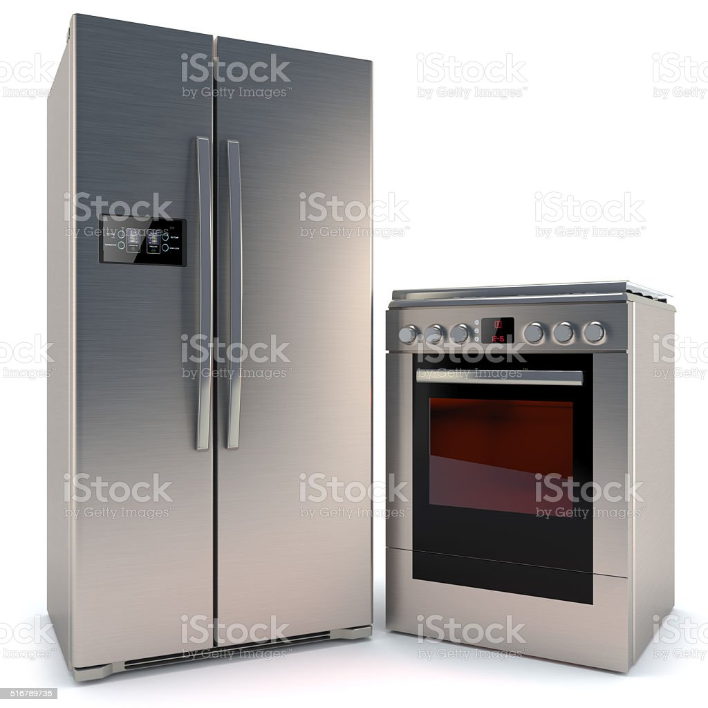 refrigerator with a gas stove with oven isolated on white background stock photo