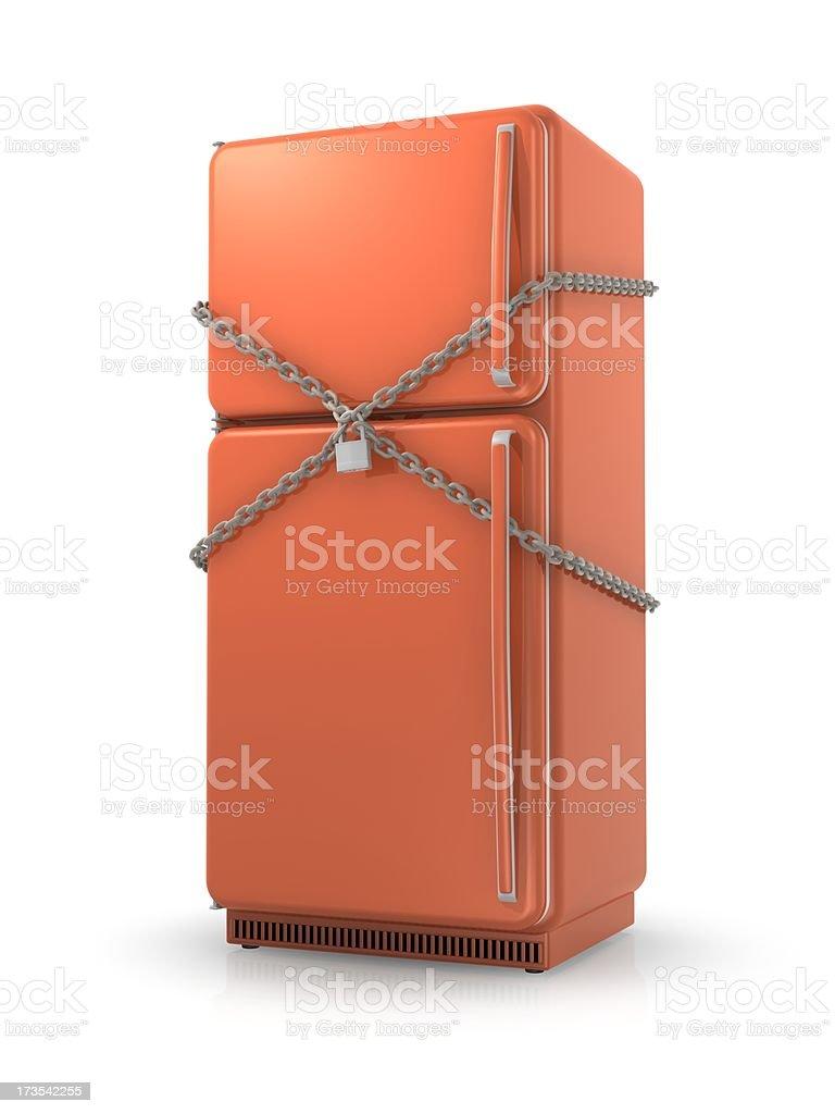 冷蔵庫、ロック&チェーン ロイヤリティフリーストックフォト