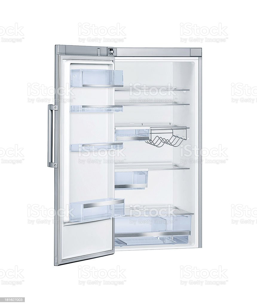 Refrigerator with open doors isolated stock photo