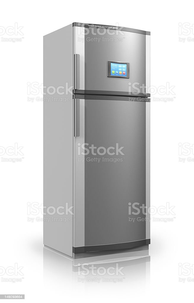 Refrigerator with touchscreen interface royalty-free stock photo