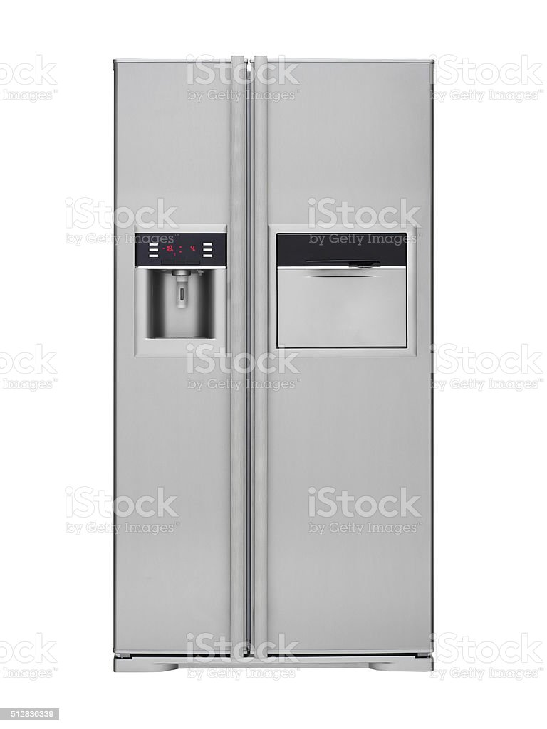 Refrigerator with water dispenser stock photo
