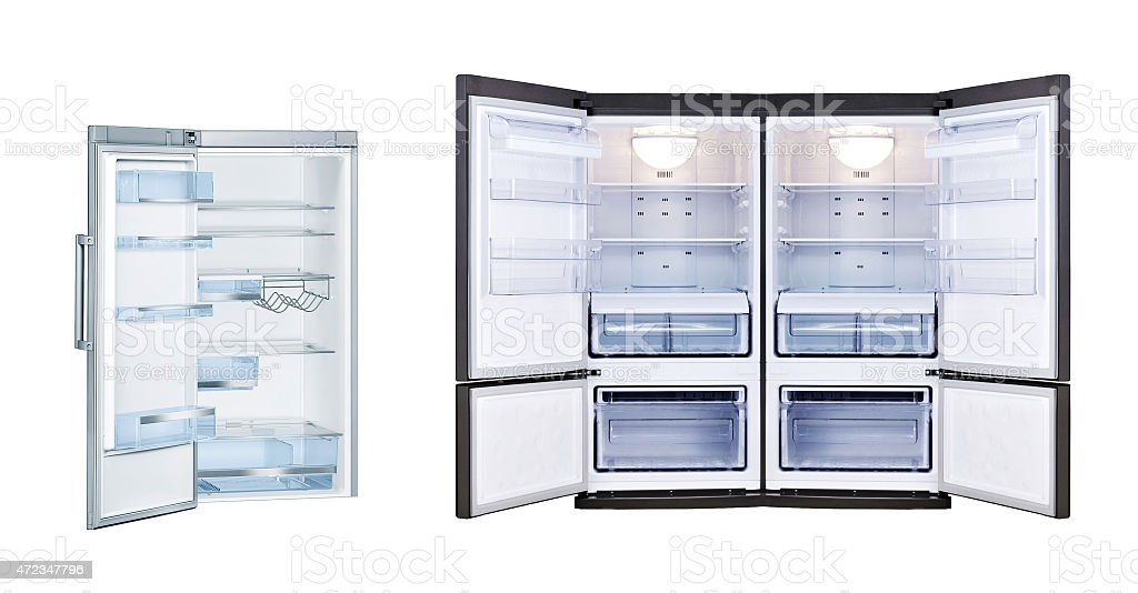 Refrigerators with open doors isolated stock photo