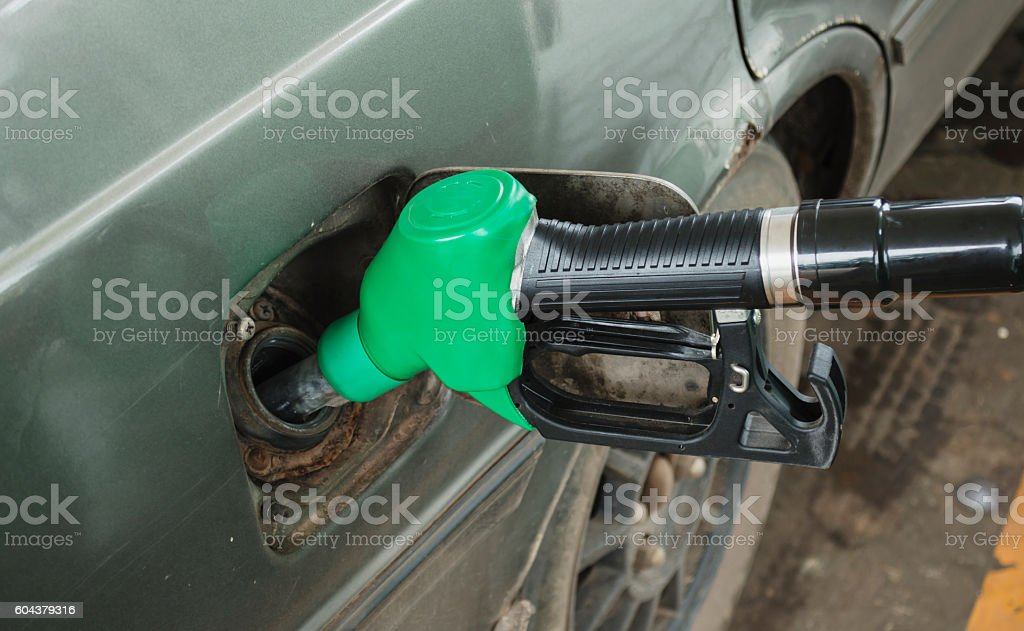 Refuel in the car. stock photo