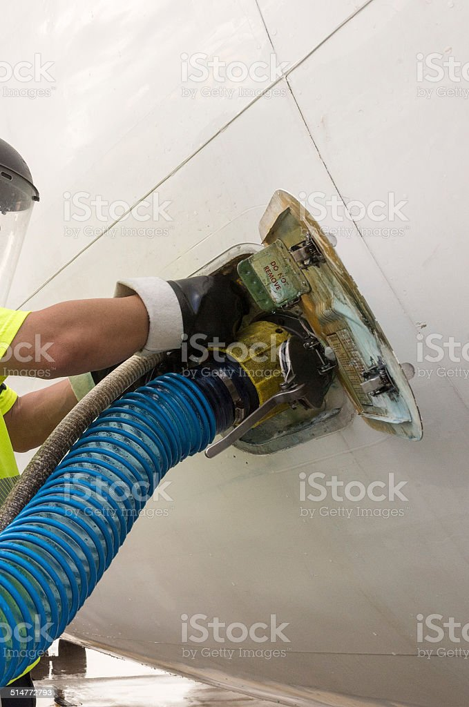 Refueling an airplane stock photo