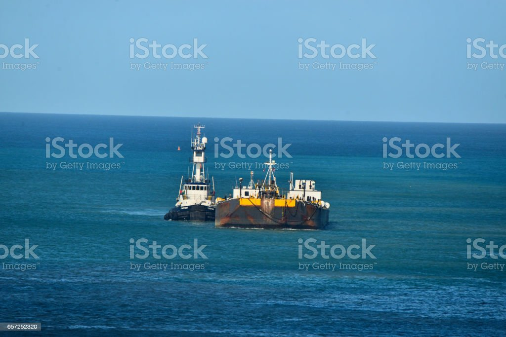 Refueling Barge in Deepwater Bay Antigua stock photo
