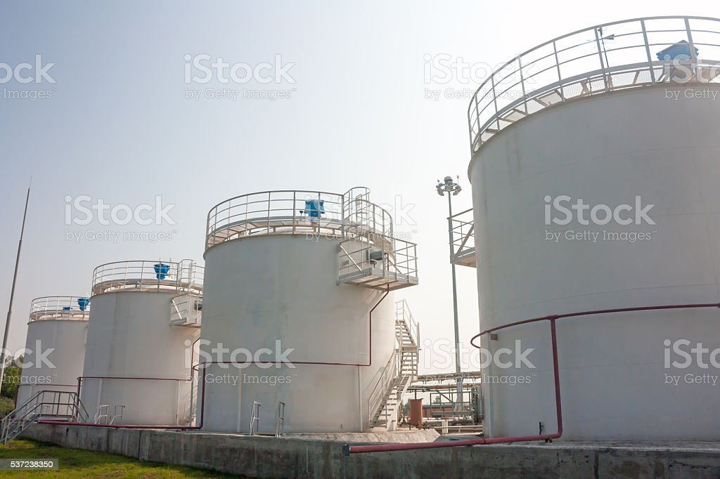 Refueling complex in the airport stock photo