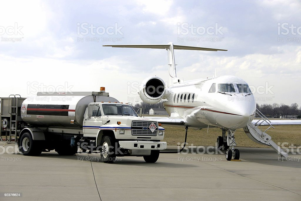 Refueling Corporate Jet royalty-free stock photo