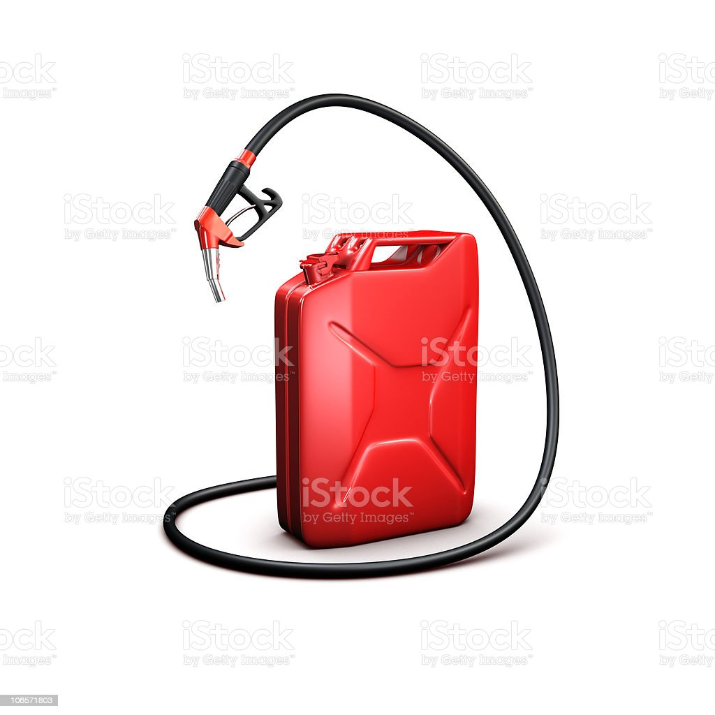 refueling hose and gas can royalty-free stock photo
