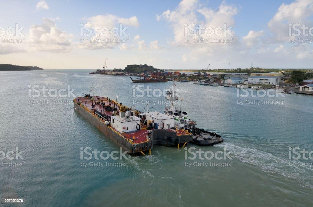 Refueling Tender in Antigua Harbor stock photo
