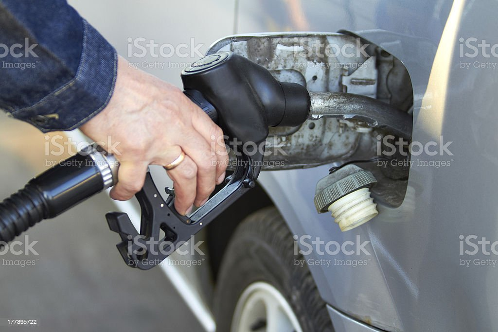 refueling the car on gas station stock photo