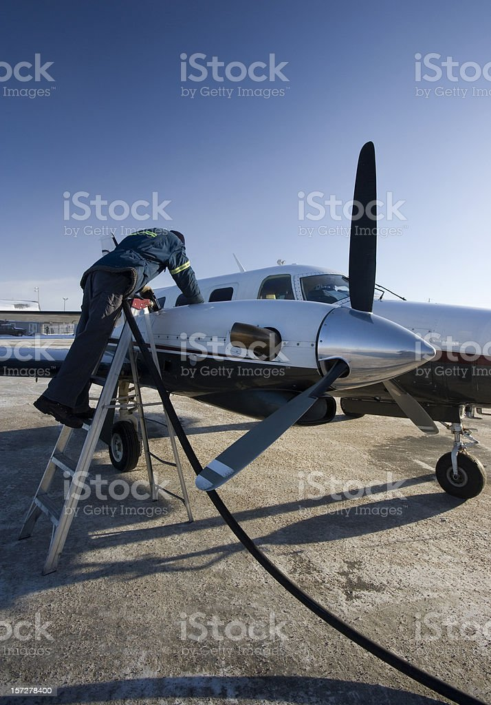 Refueling the Turboprop stock photo