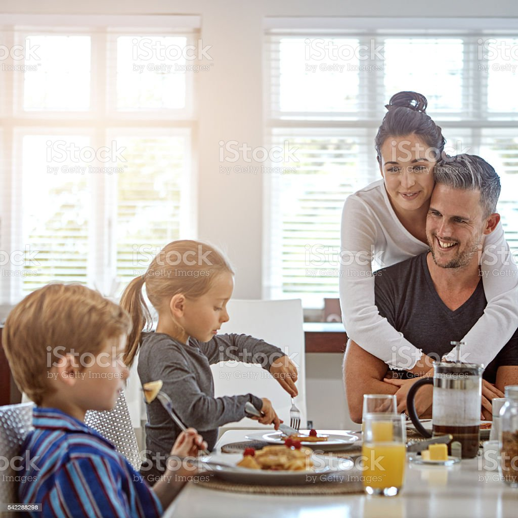 Refuelling their bodies for the day ahead stock photo