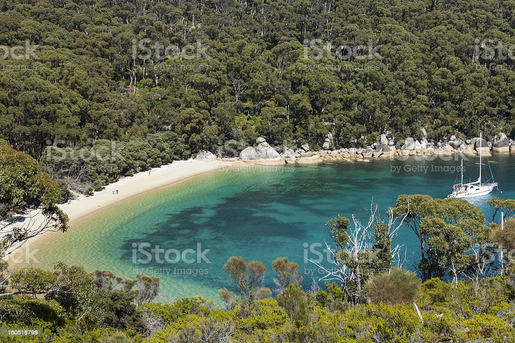 Refuge Cove from above, Wilson Promontory National Park stock photo