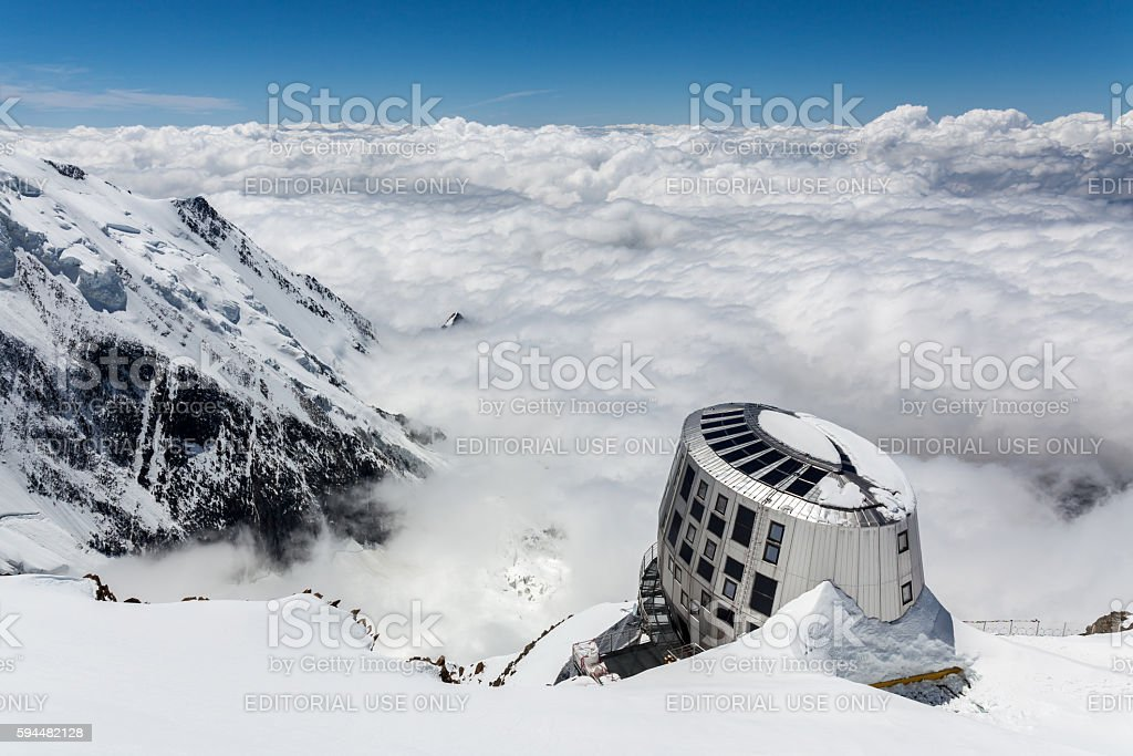 Refuge Du Gouter, Mont Blanc stock photo