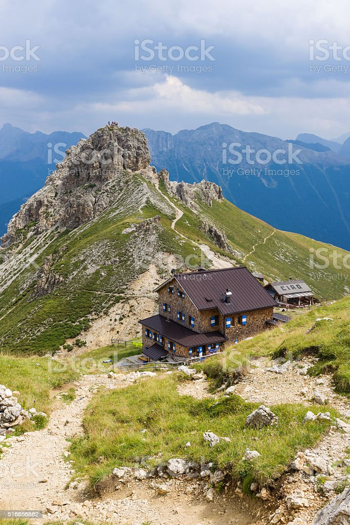 Refuge Rotwand in the Dolomites stock photo