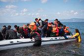 Refugee boat arriving on Lesbos Greece